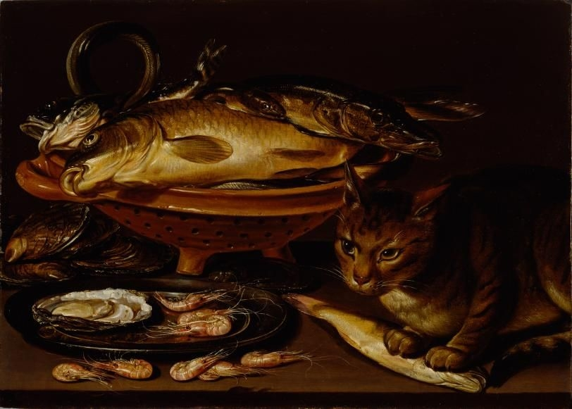 Still Life of Fish and Cat