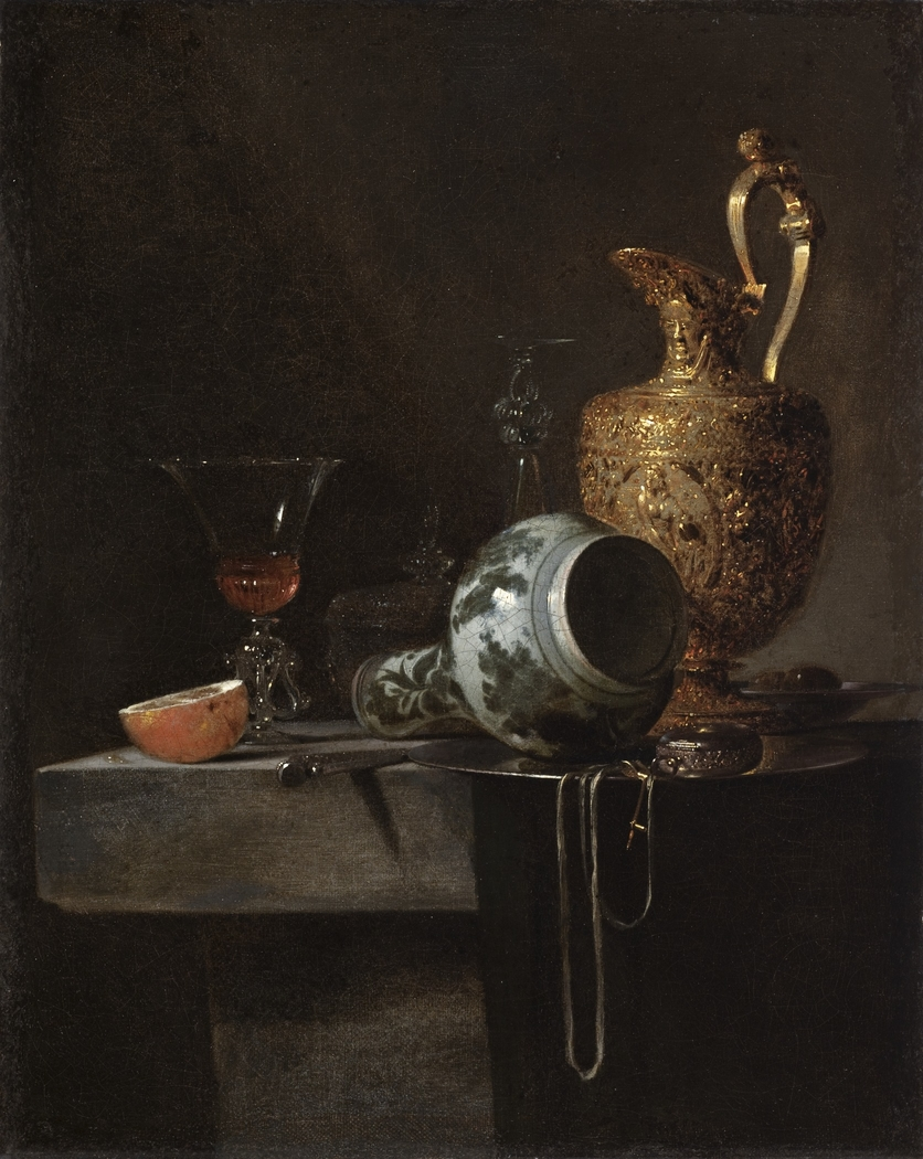 Still Life with a Porcelain Vase, Silver-gilt Ewer, and Glasses