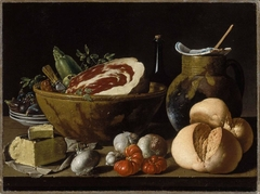 Still Life with Bread, Ham, Cheese, and Vegetables.