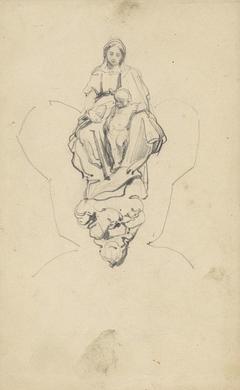 Studie van een gebeeldhouwde Madonna met kind op wolken
