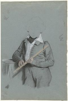 Studie van onbekende jongen, staande met fluit