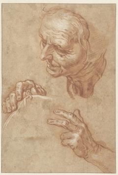 Studieblad met het hoofd van een oude vrouw en twee handen
