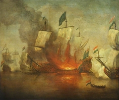 The Burning of HMS Royal James at the battle of Solebay, 28 May 1672