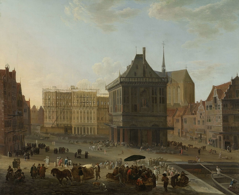 The Dam in Amsterdam with the new Town Hall under Construction