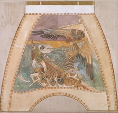 The defence of the Sampo, Sketch for the cupola frescos of the Finnish Pavilion in Paris 1900