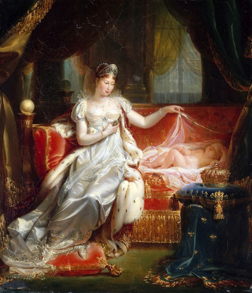 The Empress Marie-Louise watching over the sleep of the King of Rome