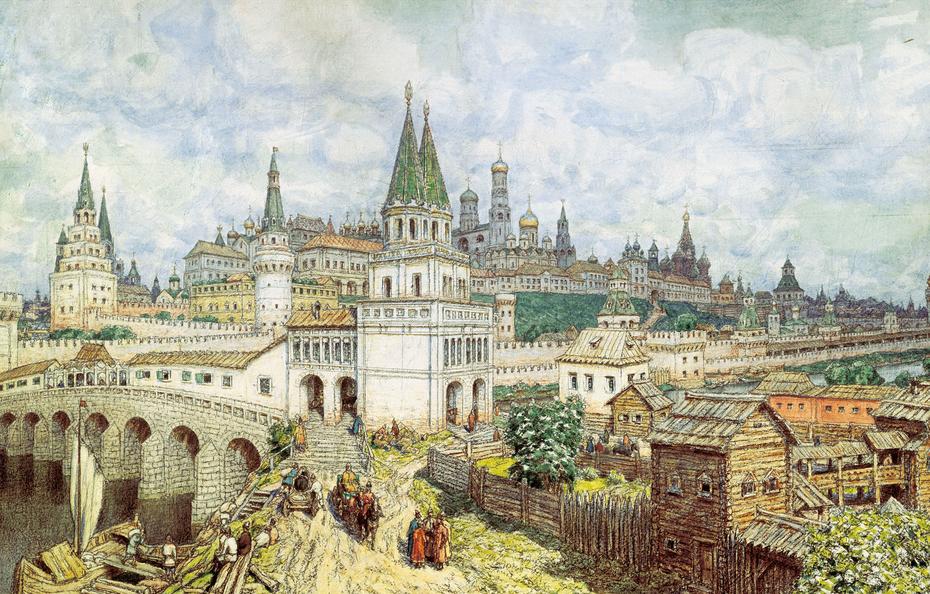 The heyday of the Kremlin. All Saints Bridge and the Kremlin at the end of the 17 century