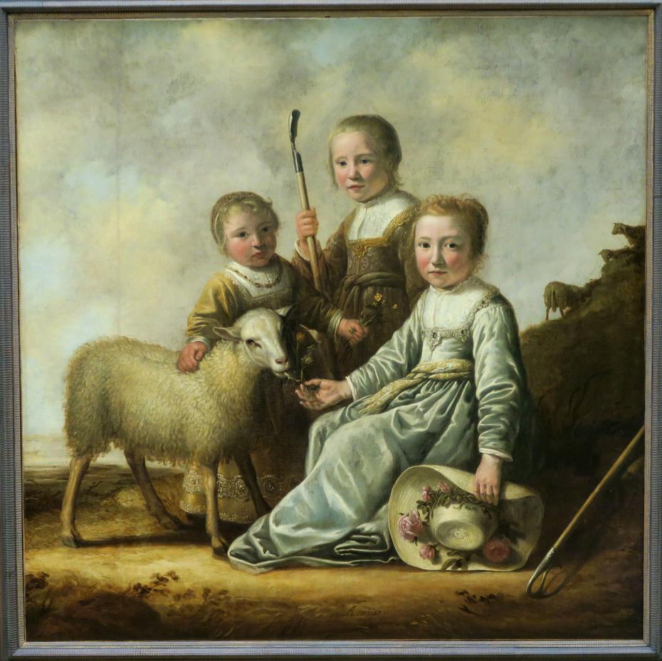 Three Little Shepherdesses with Sheep