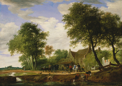 Travellers before the Inn to the White Swan