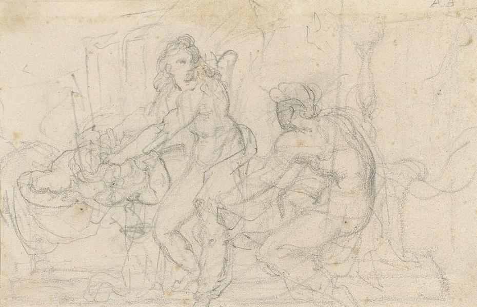 Twee figurenstudies van een zittende en een staande mannelijk naakt