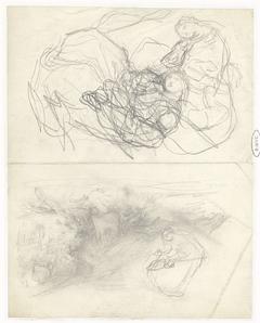 Twee studies van een zittende vrouw in een landschap