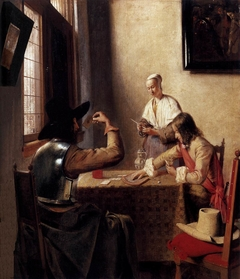 Two soldiers playing cards and a girl filling a pipe