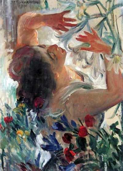 Femme avec des lys dans une serre