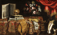Vanitas-Still Life with Violin, Score, Flower Vase and a Skull