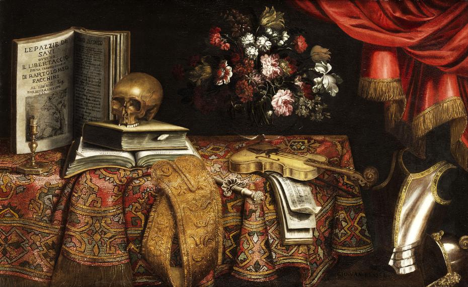 Vanitas-Still Life with Violin, Score, Flower Vase and a Skull