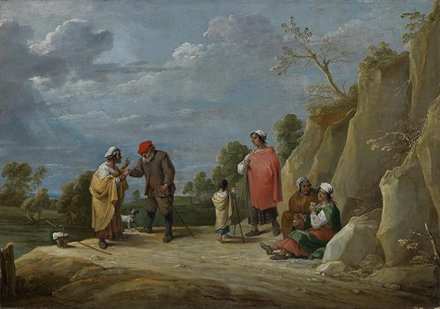 Vier Zigeunerinnen mit einem Kind, eine einem Bauern wahrsagend