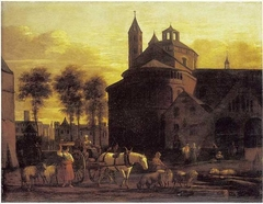 View of  a Horse and Cart before the Church of the Holy Apostles, Cologne