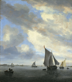 View of a lake with sailing ships