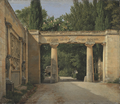 View of the Garden of the Villa Borghese in Rome