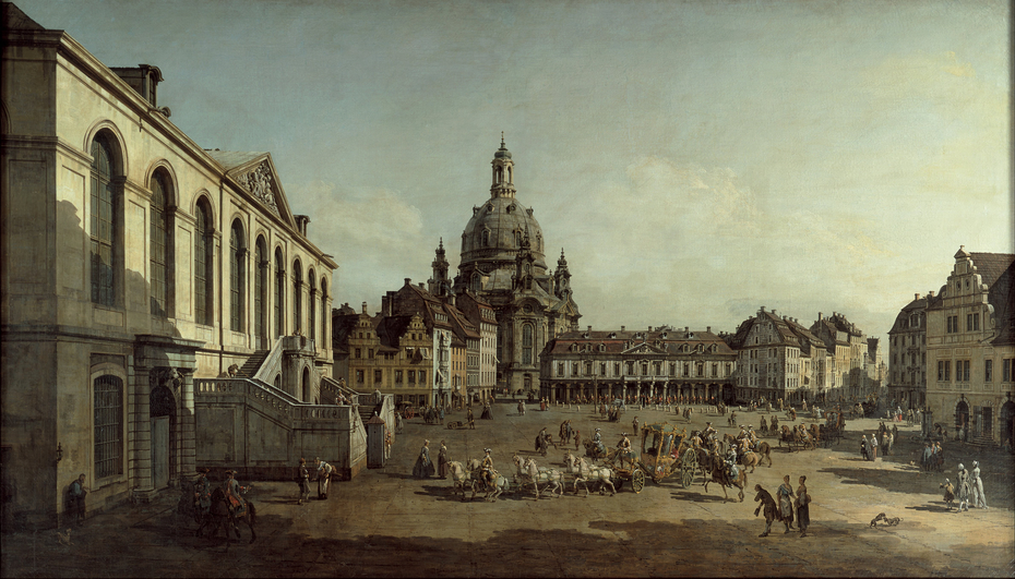 View of the Neumarkt in Dresden from the Jüdenhofe
