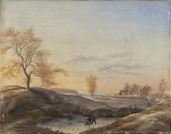 Vinterlandskab fra Frederiksdal med skøjteløbere