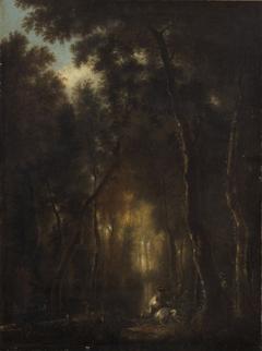 Waldlandschaft mit Hirschjagd