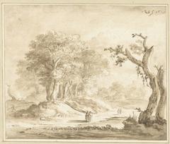 Wandelaars in een bos