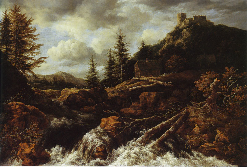 Waterfall in a Mountainous Landscape with a Ruined Castle