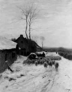 Winter Landscape with Sheep