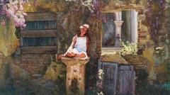 «Η Θάλεια στο Μον Ρεπό», 70 x 140 cm, oil on canvas.