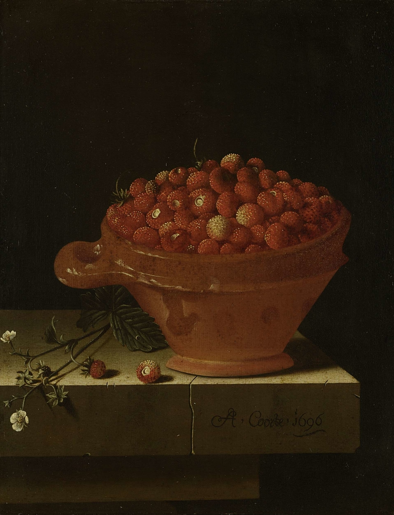A Bowl of Strawberries on a Stone Plinth