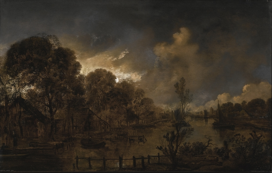 A Canal by Moonlight