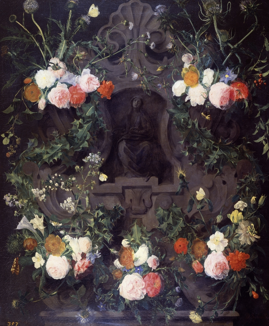 A Garland of Flowers on a Carved Stone Medallion