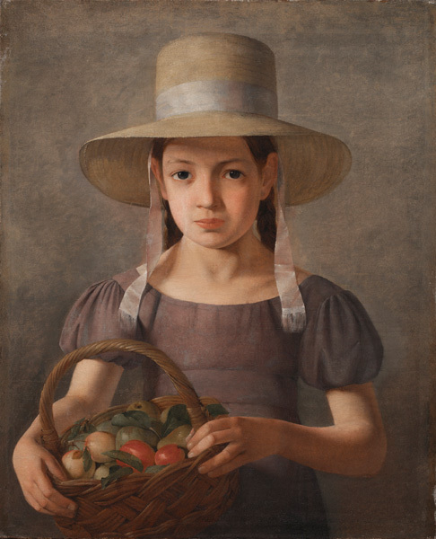 A Girl with Fruits in a Basket