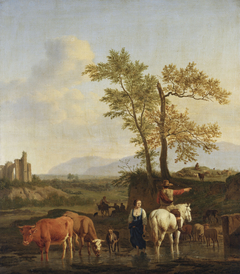 A Horseman at a Ford, Asking the Way of a Herdswoman, in an Italianate Landscape