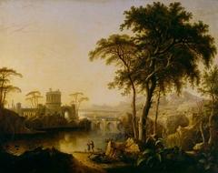 A River Landscape with a Castle at Sunrise