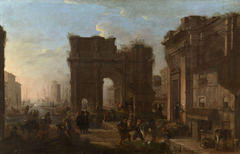 A Seaport with Figures
