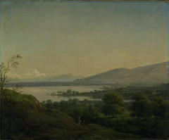 A View Across Lake Leman Towards Mont Blanc and Geneva
