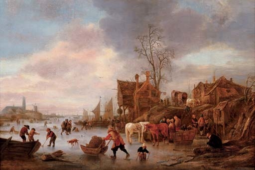 A winter landscape with villagers on a frozen canal