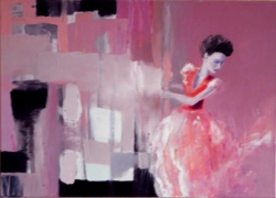 A WOMAN IN RED year 2012 oil on canvas by ANNA ZYGMUNT