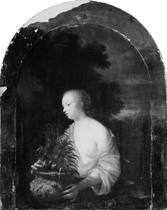 A Young Girl with a Vase of Flowers
