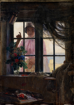 After the Bath. A Young Girl Knocking at the Fisherman's Window