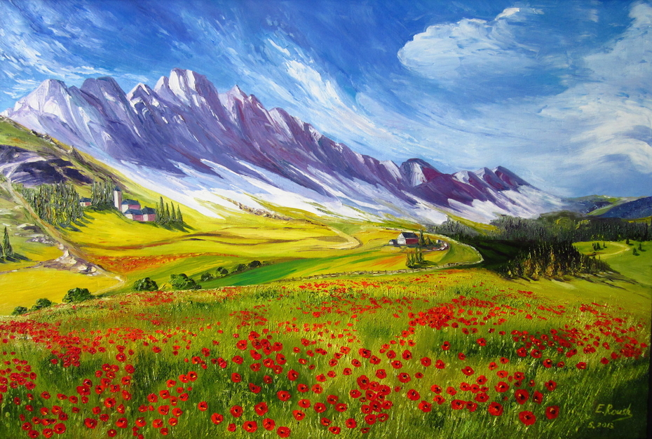 Alpine Landscape with Poppies