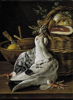 Bodegón con pichones cesta de comida y cuencos