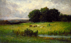 Bright Scene of Cattle near Stream