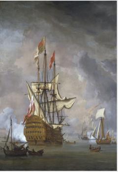 Calm: the English Ship 'Britannia' at Anchor