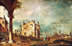 Capriccio: Ruins of an Arch and Farmhouses by a Lagoon