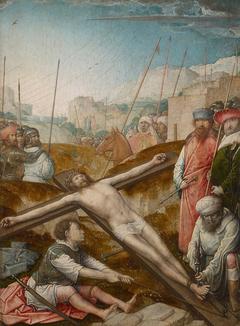 Christus wird ans Kreuz genagelt