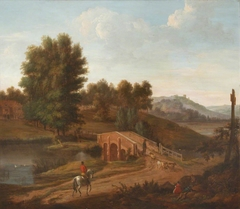 Classical River Landscape with Stone Bridge and a  Distant Castle on a Hill with Horseman on a Road