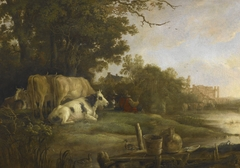 Cows in a Pasture beside a River before the Ruins of the Abbey of Rijnsburg